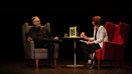 Paul Morley and Julie Campbell (Lonelady) in conversation at Manchester Literature Festival 2021 Photo courtesy Manchester Literature Festival:Gareth Lowe _3