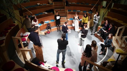 Actors' Guild members hard at work with scripts in theatre-in-the-round. © 2013 Misha von Bennigsen