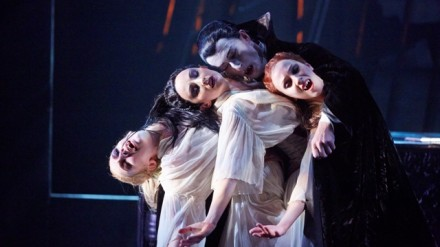 Tobias Batley as Dracula and Jessica Morgan, Hannah Bateman and Antoinette Brooks-Daw as the Brides of Dracula in Northern Ballet's Dracula. Photo Justin Slee