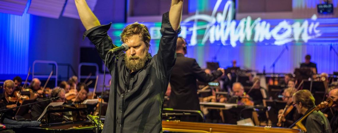 John Grant performing with the BBC Philharmonic at Media City, Salford
