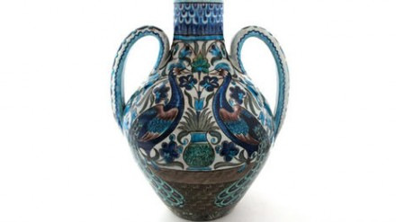 Amphora with Peacocks (about 1888-1898) by William De Morgan, painted Halsey Ralph Ricardo