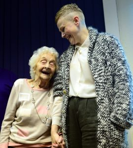 L-R: Betty Tebbs and Maxine Peake at Betty Tebbs' This Is Your Life at Bolton Socialist Club, Wood Street, Bolton. Photo by Karen Hope, Friday October 30 2015.