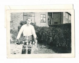 Howard Jacobson with table tennis trophies in the 1950s.