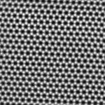 Scanning transmission electron microscope image showing the hexagonal atomic structure of graphene. Each white spot is a single carbon atom. Image courtesy of Sarah Haigh, University of Manchester and Quentin Ramasse, EPSRC SuperSTEM Laboratory, Daresbury.