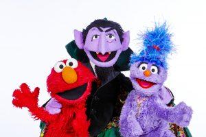 The Count, Elmo and Phoebe. Photo: BBC/Jon Shard