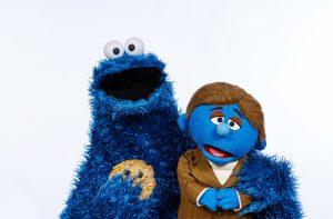Cookie Monster and Harvey P. Dull. Photo: BBC/Jon Shard