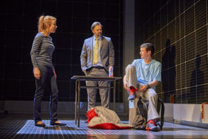 Emma Beattie (Judy), Oliver Boot (Mr Shears), Scott Reid (Christopher) NT Curious Incident Tour 2017. Photo by BrinkhoffM+Âgenburg
