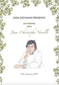 Jean-Christophe Novelli menu, Don Giovanni, Manchester
