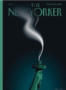 New Yorker Cover Statue of LibertyTorch Going Out