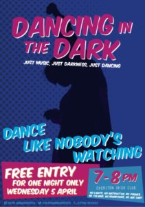 Dancing in the Dark taster poster, Chorlton Irish Club