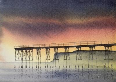 A Quiet Night, Saltburn Pier, watercolour