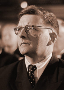 Dmitri Shostakovich's portrait, in the audience at the Bach Celebration of July 28, 1950. Photo by Roger & Renate Rössing.
