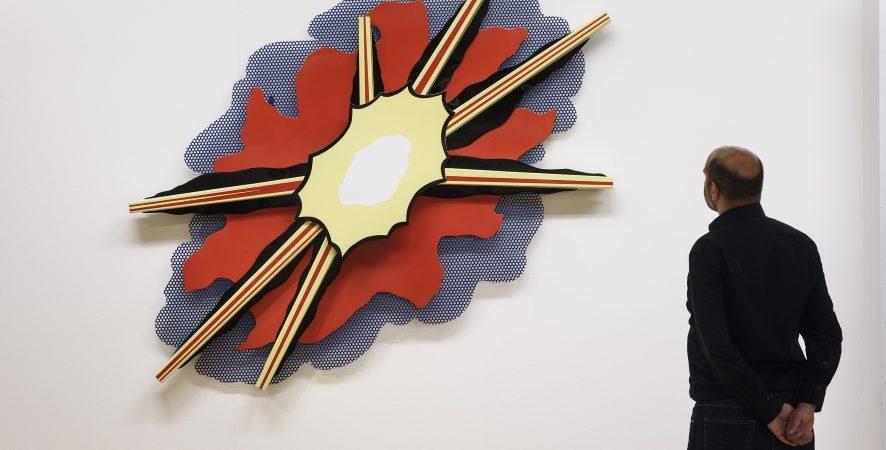 Wall Explosion II 1965 by Roy Lichtenstein on display in ARTIST ROOMS: Roy Lichtenstein in Focus, © Tate Liverpool, Roger Sinek