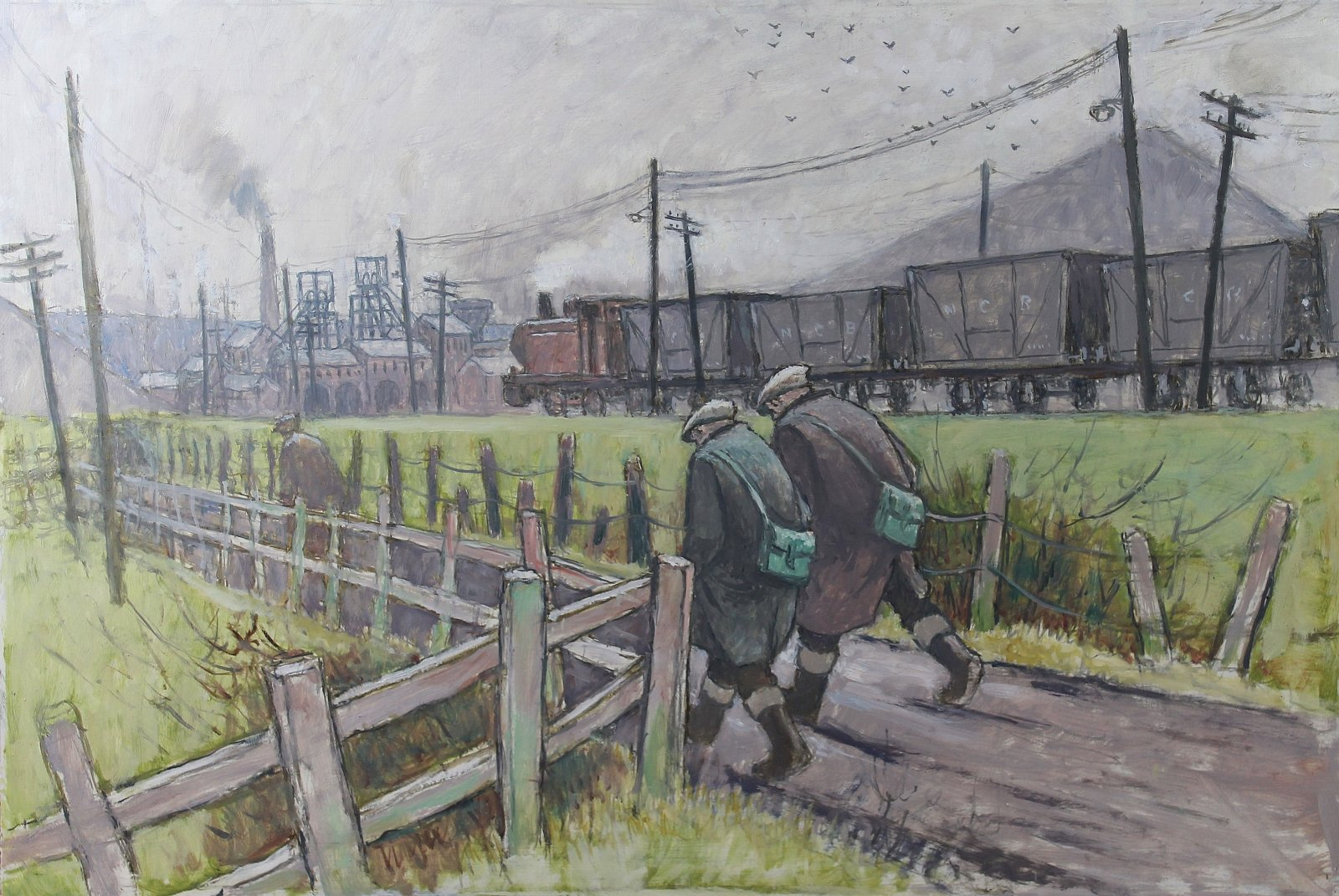 Walking to the pit with train, Norman Cornish