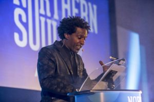 Lemn Sissay hosting the Northern Soul Awards. Photo by Chris Payne