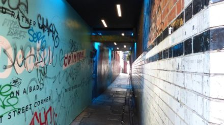Ginnel in Dublin with blue lights courtesy of Melissa Buckler Smith.