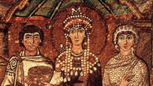 Byzantine mosaic in Basilica of San Vitale, Ravenna, depicting Empress Theodora (6th century) flanked by a chaplain and a court lady believed to be her confidant Antonina, wife of general Belisarius. Wikipedia.