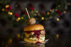 Christmas burger at All Star Lanes