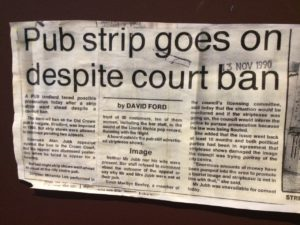 Newspaper coverage of the Old Crown, the UK's first prosecutions under the Indecent Displays Act (1981).