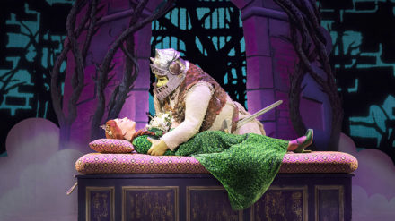 Laura Main as Princess Fiona and Steffan Harri as Shrek. Shrek the Musical. Credit Helen Maybanks