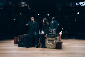 Royal Exchange Theatre - (l-r) Julius D'Silva (Boris Borisovich Simyonov-Pischik), Verity Blyth (Anya), Jude Owusu (Yermolai Alekseyevich Lopakhin - The Cherry Orchard. Image by Liam Bennett