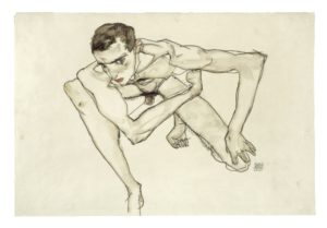 Egon Schiele, 1890-1918 Self Portrait in Crouching Position 1913 Gouache and graphite on paper 323 x 475 mm Moderna Museet / Stockholm Photo: Moderna Museet / Stockholm