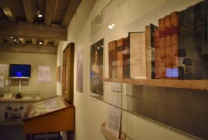Exhibition view with copies of Mary Shelley's novels