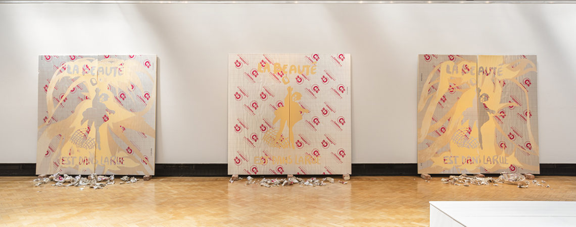 Installation shot of Magnus Quaife While England Mourns. Courtesy of Touchstones Rochdale