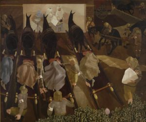 © IWM Art.IWM ART 2268 Stanley Spencer, Travoys Arriving with Wounded at a Dressing-Station at Smol, Macedonia,1919 Oil on canvas