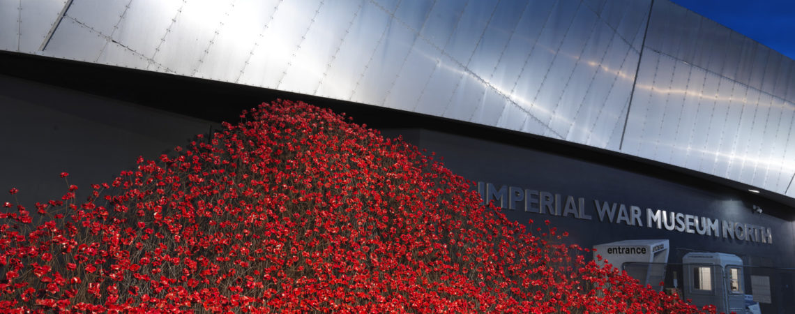 oppies: Wave outside IWM North by Artist Paul Cummins and Designer Tom Piper.Photographed 7th September 2018.