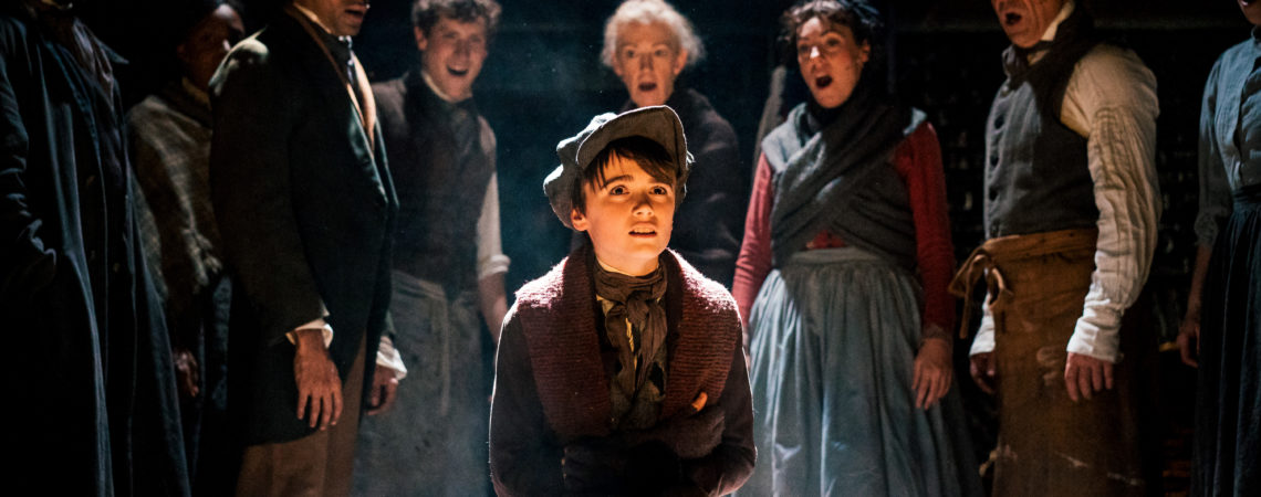 Cast of A Christmas Carol including Seb Smallwood (Tiny Tim) 2. Photography by Andrew Billington.