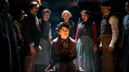 Cast of A Christmas Carol including Seb Smallwood (Tiny Tim) 2. Photography by Andrew Billington.