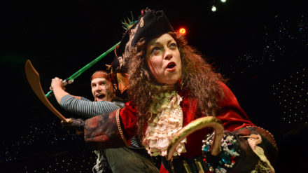 Peter Pan (Gareth Morgan) and Captain Hook (Helen Longworth) in a scene from The Dukes production of Peter Pan which runs from November 23-January 5.