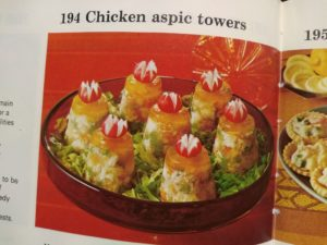 Chicken aspic towers, retro cooking back