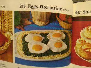 Eggs Florentine, retro cookbook