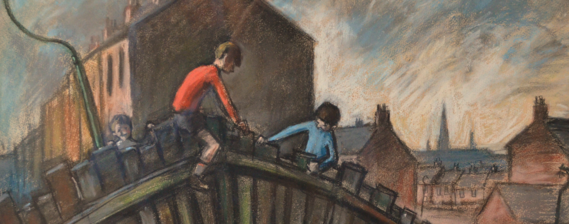 Boys on Fence © Norman Cornish Estate. To be shown at Norman Cornish – A Slice of Life, at the Mining Art Gallery, Bishop Auckland.