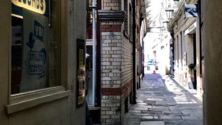 Cardiff ginnel with the oldest record shop in the world by Phil Pearson