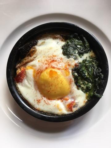Baked egg chorizo spinach mushroom