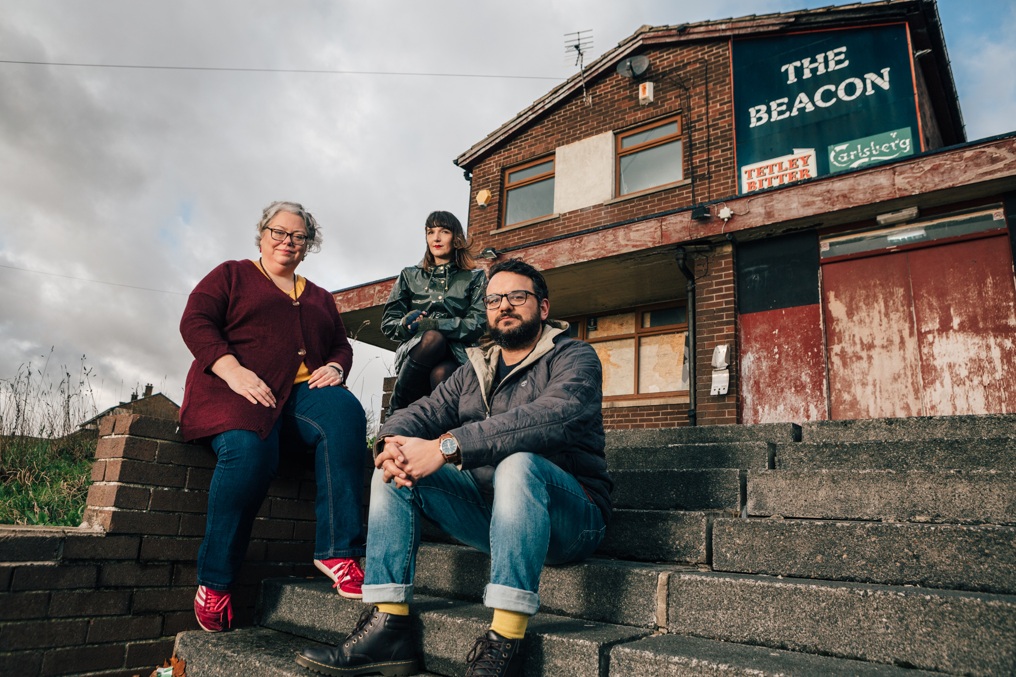 Playwright Lisa Holdsworth, author Adelle Stripe and director Kash Arshad ┬®TomWoollard_FreedomStudios_BeaconPub_Bradford-0028-Edit