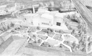 The Hepworth Riverside Gallery Garden - aerial drawing