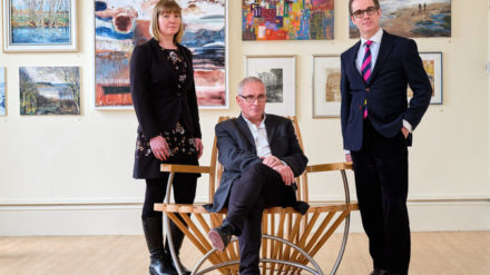 L-R Kirsty Holtby, Simon Hedges, Andrew Clay in Scarborough Art Gallery ©Tony Bartholomew